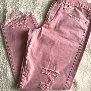 Pink Denim Mossimo Boyfriend Crop Jeans